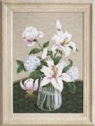 Набор для вышивки крестиком Таинство белых цветов