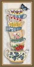 Схема для вышивки бисером на габардине Чашки на бежевом Art Solo VKA3078