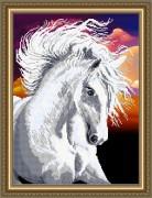 Схема вышивки бисером габардине Белая лошадь