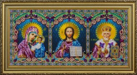 Набор для вышивки бисером Икона тройная (Спаситель, Божья Матерь Казанская, Святой Николай Чудотворец)