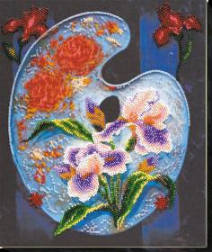 Набор для вышивки бисером на холсте Цветочная палитра