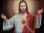 Схема вышивки бисером на габардине Ісус Христос
