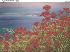 Схема для вышивки бисером на габардине Маки на морском берегу