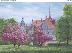 Схема для вышивки бисером на габардине Замок Графов Шенборнов