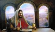 Схема вышивки бисером на габардине Трапеза Ісуса Христа