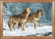 Схема для вышивки бисером на габардине Волки на снегу