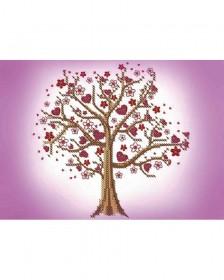 Схема для вышивки бисером на габардине Дерево любви