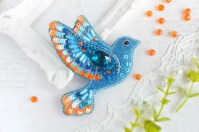 Брошь из бисера Синяя птица счастья Tela Artis (Тэла Артис) Б-024 ТА - 275.00грн.