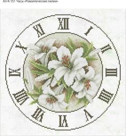 Схема для вышивки бисером на габардине Часы Романтические Лилии, , 70.00грн., А3-К-151, Acorns, Цветы