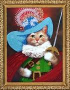 Рисунок на атласе для вышивки бисером Кот в сапогах