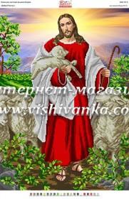 Схема для вышивки бисером на атласе Добрый пастырь
