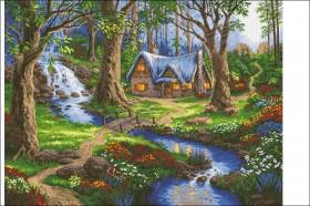 Схема вышивки бисером на атласе Лесной домик. Домик мечты  Эдельвейс А-1-030 Атлас - 275.00грн.