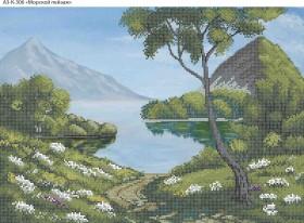 Схема для вышивки бисером на габардине Морской пейзаж, , 70.00грн., А3-К-306, Acorns, Пейзажи и натюрморты