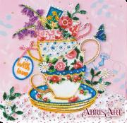 Набор-миди для вышивки бисером на натуральном художественном холсте За чашкой чая