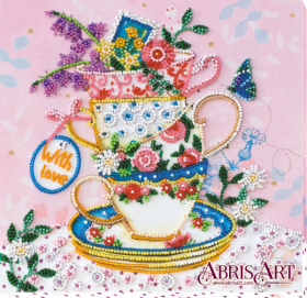 Набор-миди для вышивки бисером на натуральном художественном холсте За чашкой чая Абрис Арт АМВ-019 - 210.00грн.