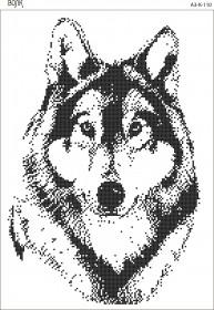 Схема для вышивки бисером на габардине Волк