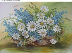 Схема для вышивки бисером на габардине Корзина с васильками, , 70.00грн., А3-К-361, Acorns, Цветы