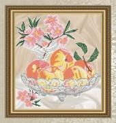 Схема для вышивки бисером на габардине Персики в хрустале