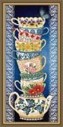 Схема для вышивки бисером на габардине Чашки на синем