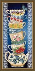 Схема для вышивки бисером на габардине Чашки на синем Art Solo VKA3079