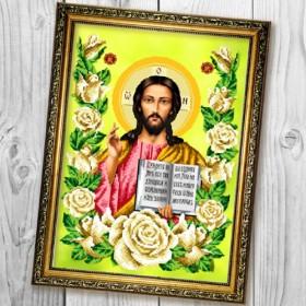 Схема вышивки бисером (нитками) на габардине Господь Вседержитель в трояндах