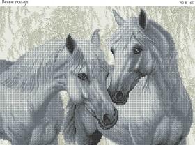 Схема для вышивки бисером на габардине Белые лошади