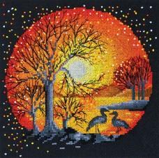 Набор для вышивки крестом Цапли на закате
