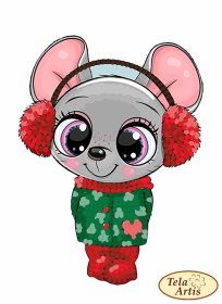 Схема для вышивки на велюре Мышка-малышка