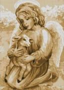Схема вышивки бисером на габардине Ангелочок з ягням