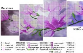 Схема вышивки бисером на атласе Магнолия (Полиптих), , 180.00грн., ЮМА-Т-3, Юма, Картины из нескольких частей