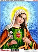 Схема вышивки бисером на габардине Непорочне Серце Діви Марії