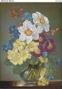 Схема для вышивки бисером на габардине Весенние цветы