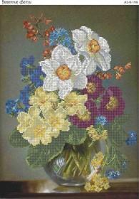 Схема для вышивки бисером на габардине Весенние цветы, , 70.00грн., А3-К-199, Acorns, Цветы