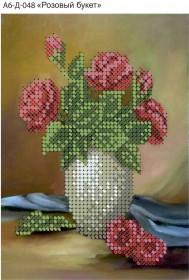 Схема для вышивки бисером на габардине Розовый букет