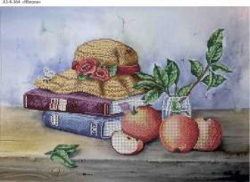 Схема для вышивки бисером на габардине Яблоки, , 70.00грн., А3-К-364, Acorns, Пейзажи и натюрморты