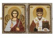 Набор для вышивки иконы бисером в рамке-складне Николай Чудотворец и Ангел Хранитель
