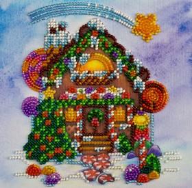 Набор для вышивки бисером на холсте Пряничный домик