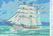 Схема вышивки бисером на атласе Корабль
