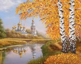 Рисунок на ткани для вышивки бисером Осенняя пора