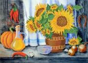 Рисунок на ткани для вышивки бисером Деревенский натюрморт.  Подсолнухи