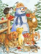 Рисунок на ткани для вышивки бисером Снеговик