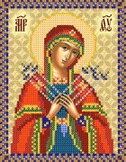 Рисунок на атласе для вышивки бисером Богородица Семистрельная