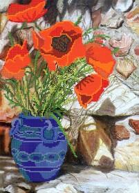 Рисунок на ткани для вышивки бисером Маки