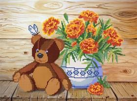 Рисунок на ткани для вышивки бисером Мишка