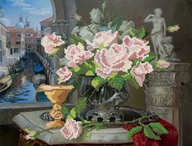 Рисунок на ткани для вышивки бисером Натюрморт с розами