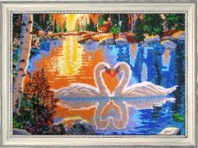 Набор для вышивки бисером лебеди на закате, , 752.00грн., 511Б, Баттерфляй (Butterfly), Большие наборы
