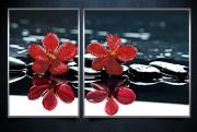 Рисунки на ткани для вышивки бисером Красные орхидеи