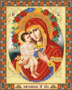 Рисунок на атласе для вышивки бисером Жировицкая икона Божьей матери