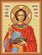 Рисунок на атласе для вышивки бисером Святой Пантелеймон Целитель