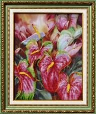 Набор для вышивки бисером Цветок Фламинго Картины бисером Р-076